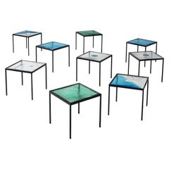 Side Tables in Structured Glass and Steel