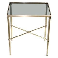 Italian Side Table or Telephone Table Brass and Glass Hollywood Regency 1960s