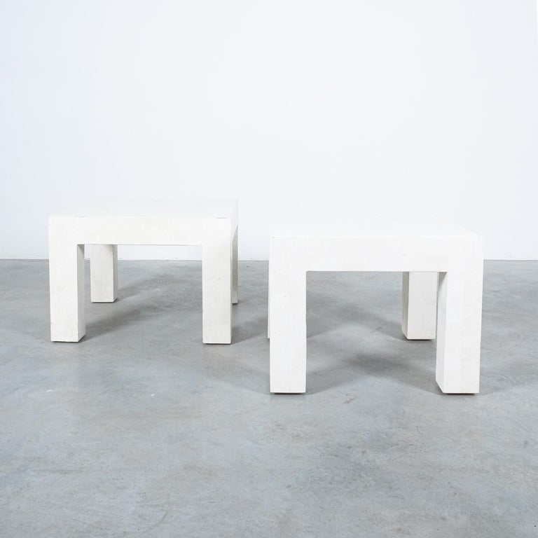 Side Tables White Marble Tiles, France, circa 1970 For Sale 3