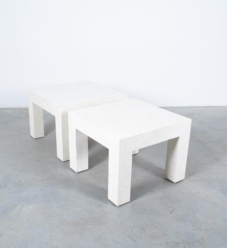 Side Tables White Marble Tiles, France, circa 1970 For Sale 4