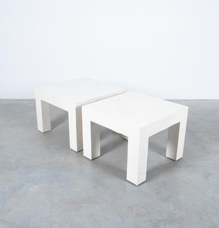 Side Tables White Marble Tiles, France, circa 1970 For Sale 5