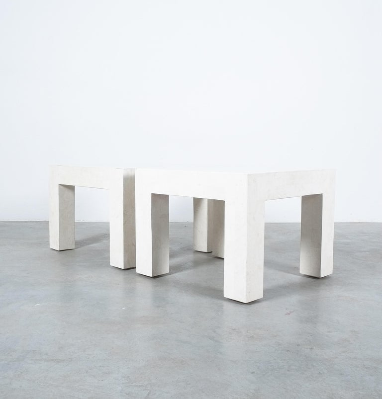Side Tables White Marble Tiles, France, circa 1970 For Sale 6