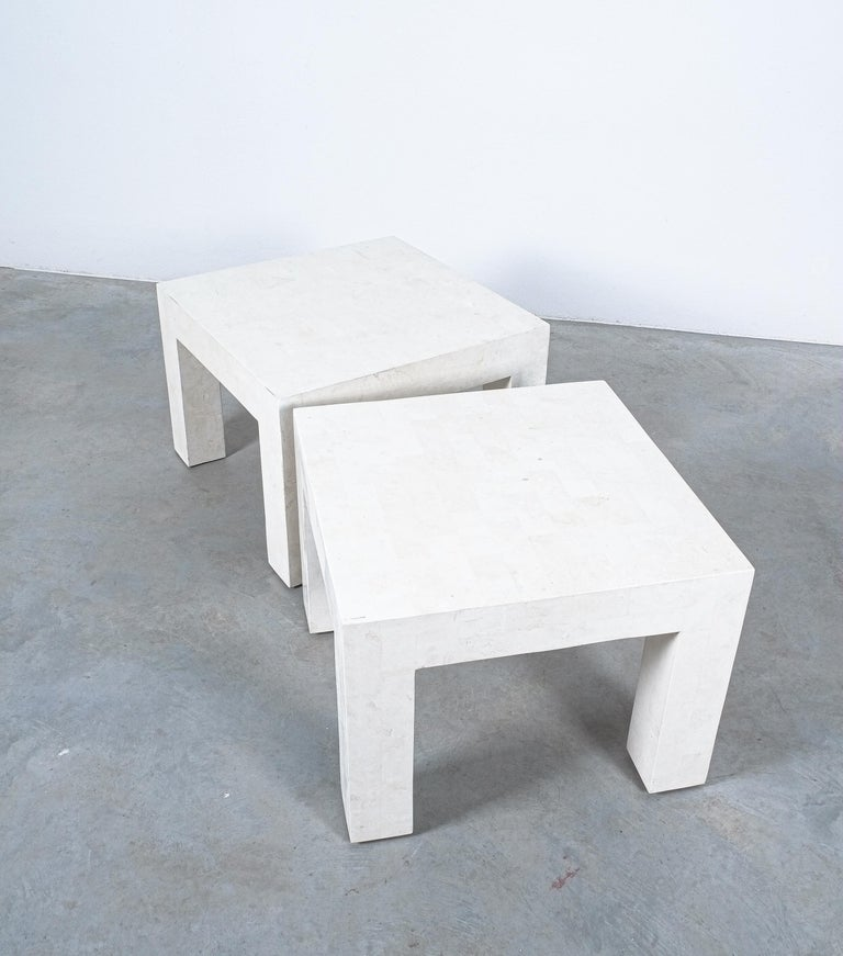 Side Tables White Marble Tiles, France, circa 1970 For Sale 7