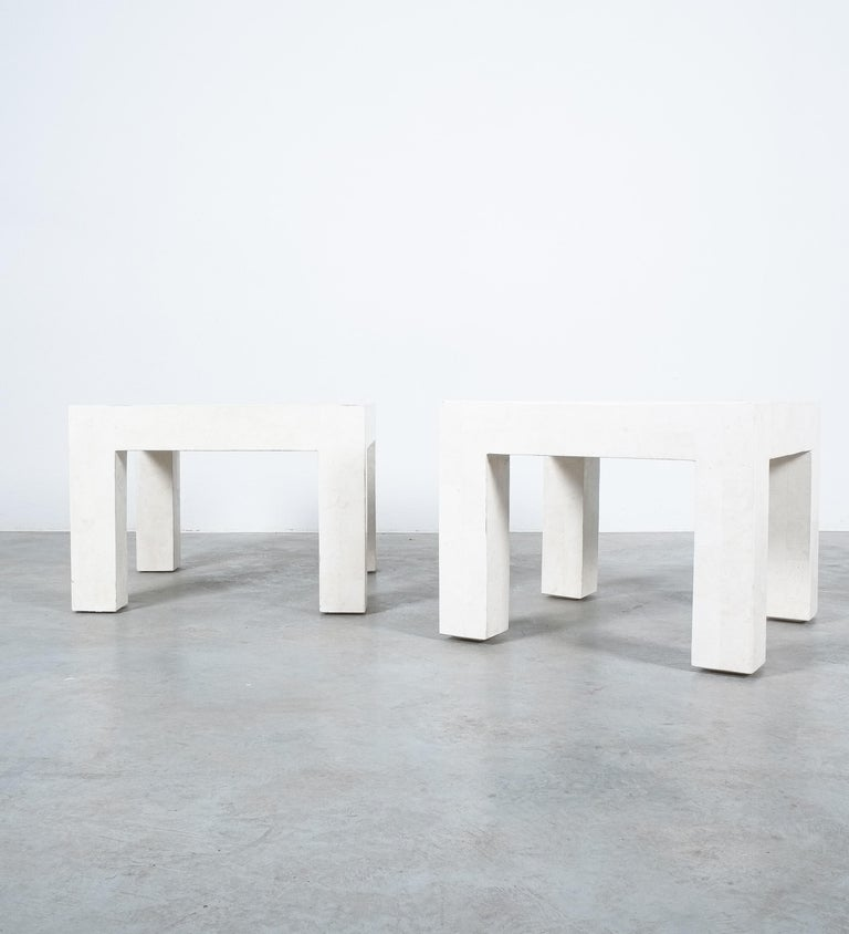 Side Tables White Marble Tiles, France, circa 1970 In Good Condition For Sale In Vienna, AT