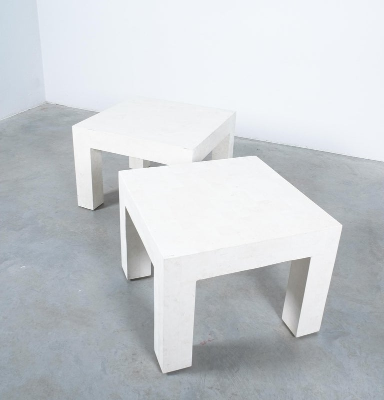 Late 20th Century Side Tables White Marble Tiles, France, circa 1970 For Sale