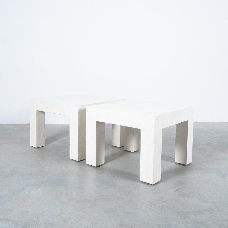 Side Tables White Marble Tiles, France, circa 1970 For Sale 1