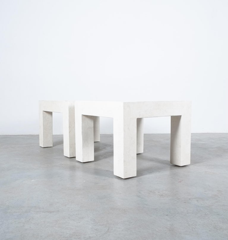 Side Tables White Marble Tiles, France, circa 1970 For Sale 2