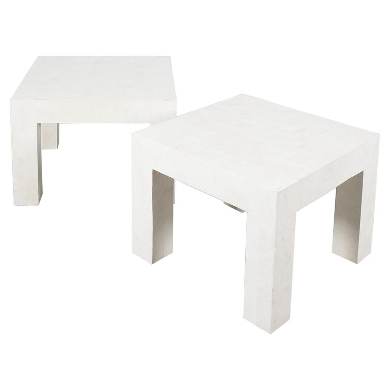Side Tables White Marble Tiles, France, circa 1970 For Sale