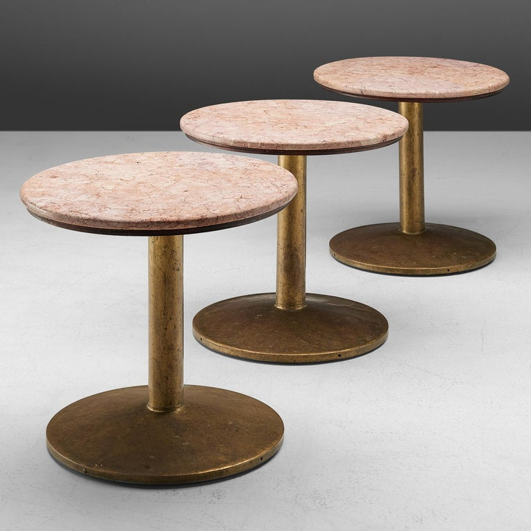 Mid-Century Modern Small Dining Table with Rose Marble Top For Sale