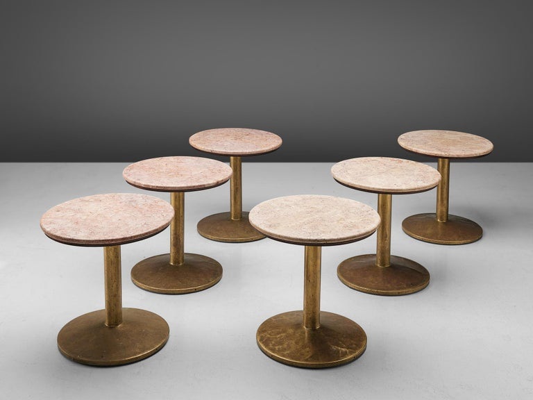 Small Dining Table with Rose Marble Top For Sale 1