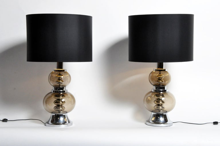 Pair of Glass and Chrome Table Lamps For Sale 9