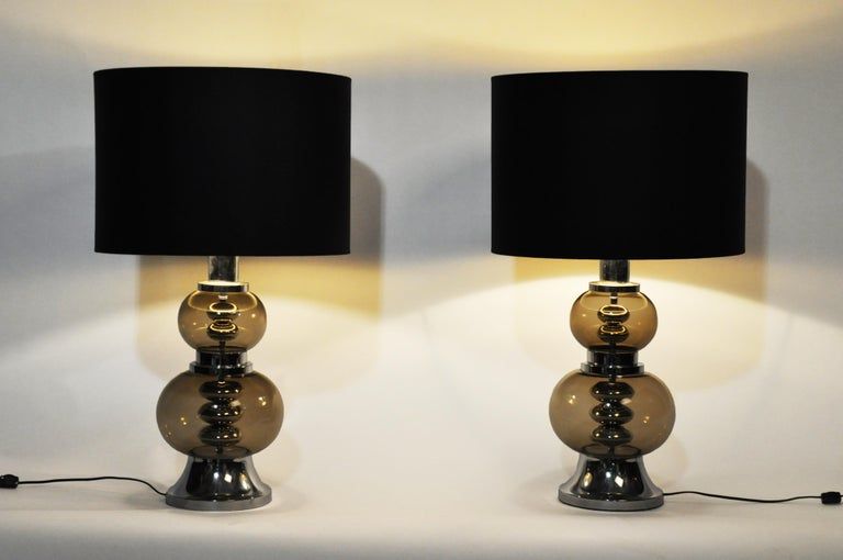 Pair of elegant glass lamps from France, circa 1970; rewired for U.S. electrical systems.