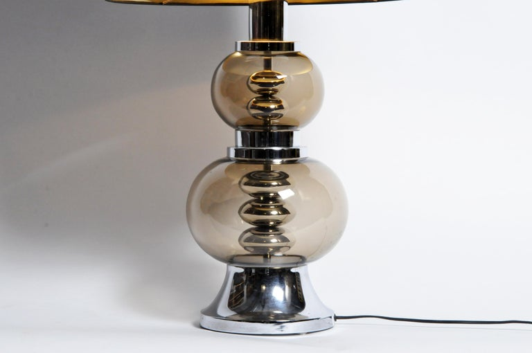 Metal Pair of Glass and Chrome Table Lamps For Sale