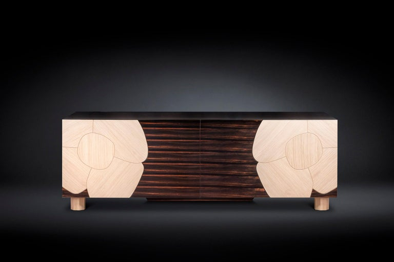 Modern Sideboard Andy, in Ebony Wood Finish, Italy For Sale