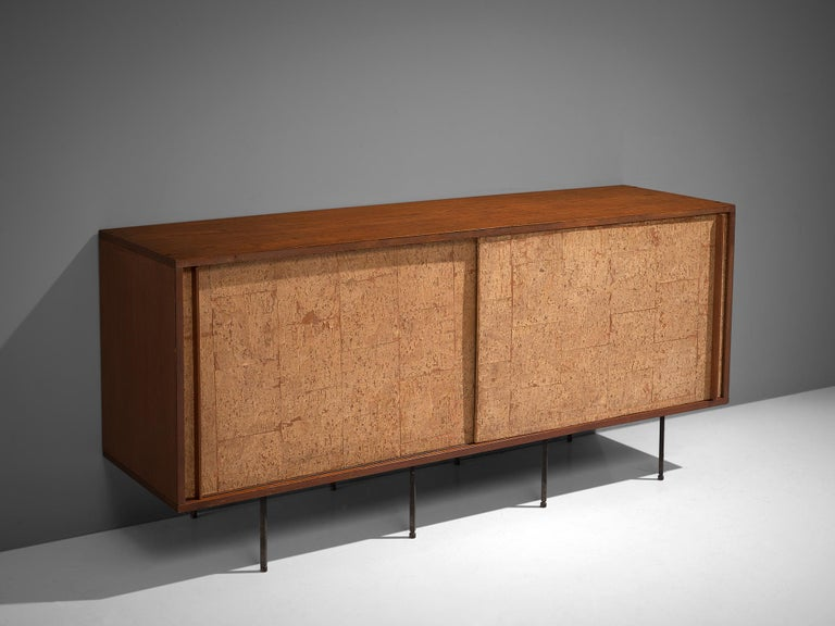 Mid-Century Modern Sideboard by Campo & Graffi, Wood, Cork and Metal, Italy, 1960s For Sale