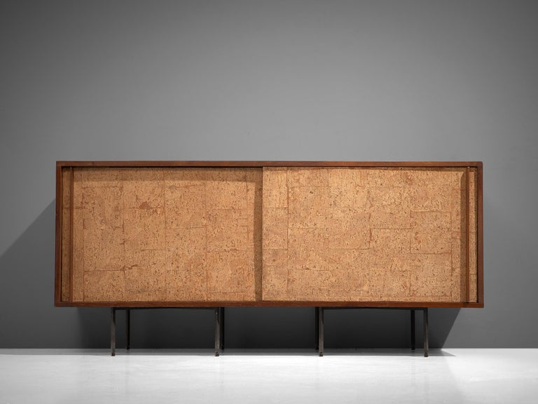 Italian Sideboard by Campo & Graffi, Wood, Cork and Metal, Italy, 1960s For Sale