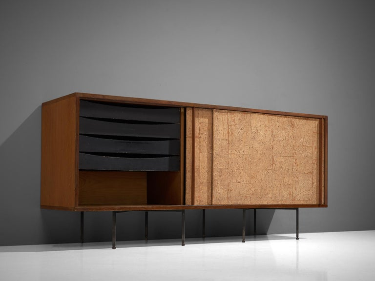 Sideboard by Campo & Graffi, Wood, Cork and Metal, Italy, 1960s In Good Condition For Sale In Waalwijk, NL