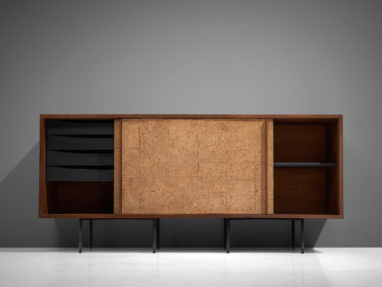 Mid-20th Century Sideboard by Campo & Graffi, Wood, Cork and Metal, Italy, 1960s For Sale