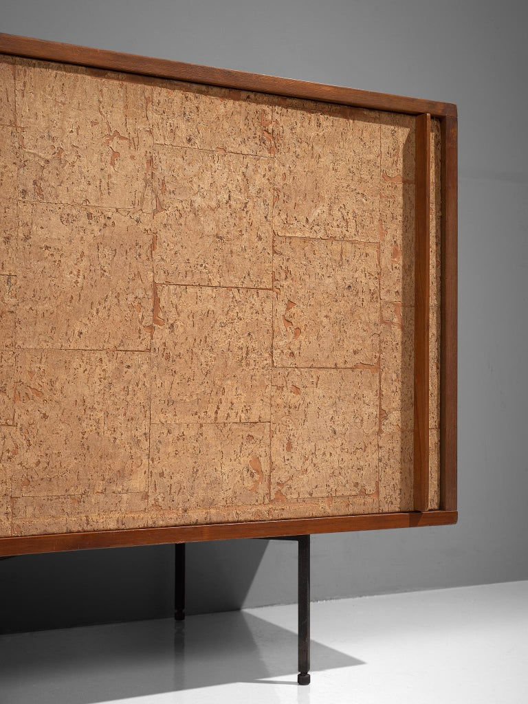 Sideboard by Campo & Graffi, Wood, Cork and Metal, Italy, 1960s For Sale 1