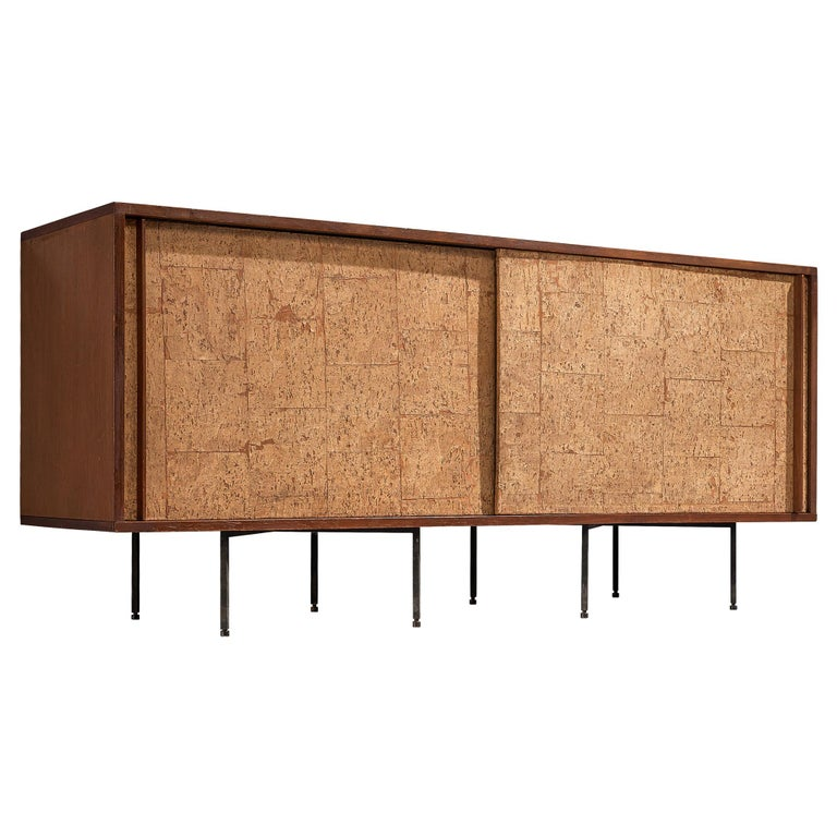Sideboard by Campo & Graffi, Wood, Cork and Metal, Italy, 1960s For Sale