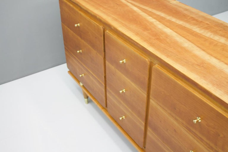 Sideboard Chest of Drawers with Brass Details, 1950s For Sale 5