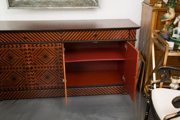 Hand-Crafted Sideboard Credenza Decorated in a Geometric Pattern For Sale