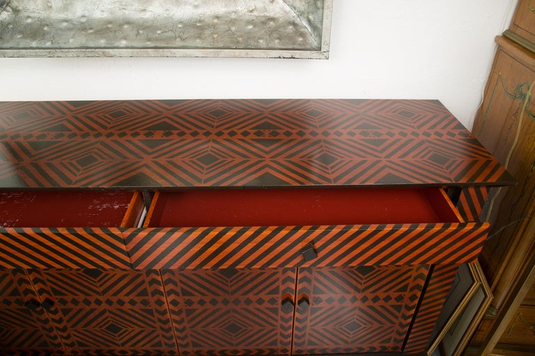 Sideboard Credenza Decorated in a Geometric Pattern In Good Condition For Sale In WEST PALM BEACH, FL