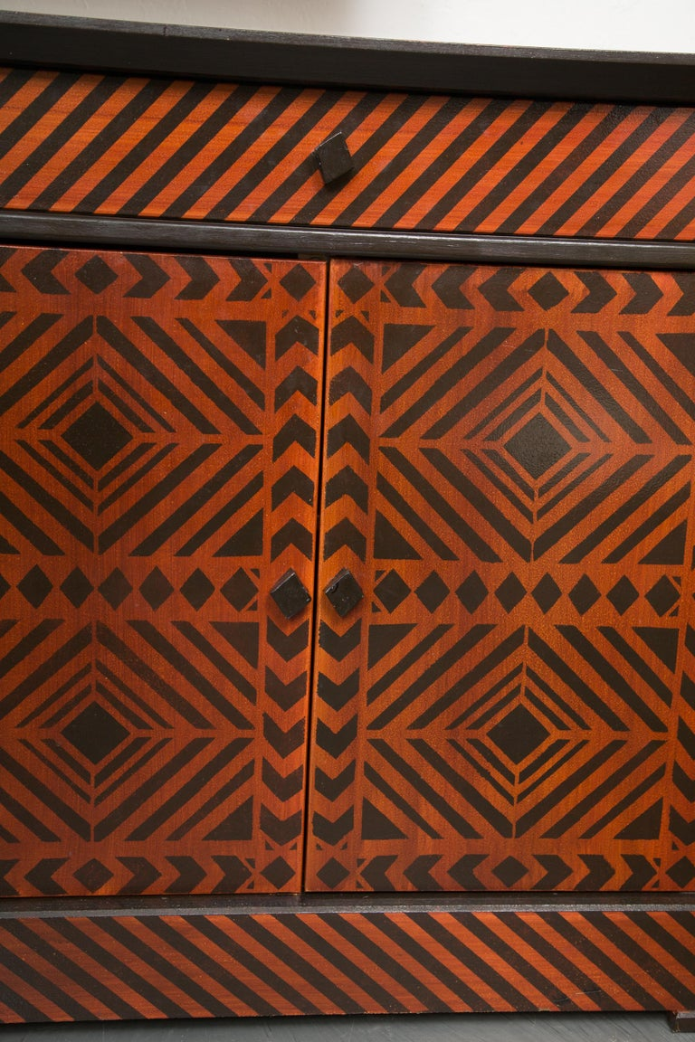20th Century Sideboard Credenza Decorated in a Geometric Pattern For Sale