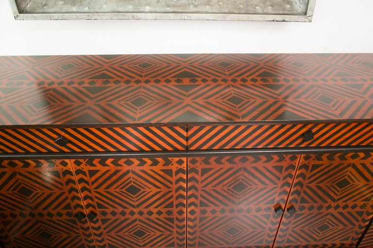 Wood Sideboard Credenza Decorated in a Geometric Pattern For Sale