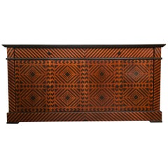 Sideboard Credenza Decorated in a Geometric Pattern