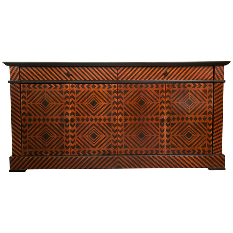 Sideboard Credenza Decorated in a Geometric Pattern For Sale