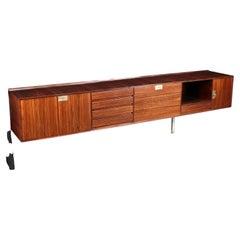 Sideboard Edmond Palutari Dassi Veneered Wood Brass Lissone, Italy 60s