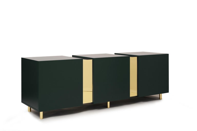 Sideboard in Brass and Colorful Lacquered Wood, Geometric-Shaped For Sale 4