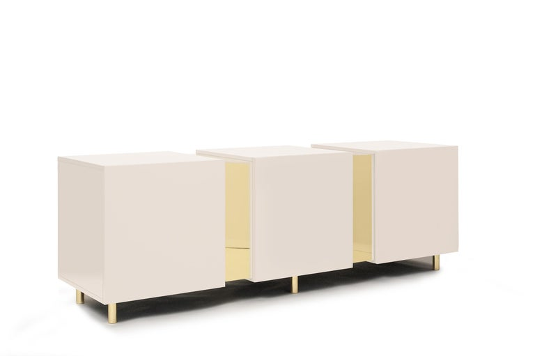 Sideboard in Brass and Colorful Lacquered Wood, Geometric-Shaped For Sale 9