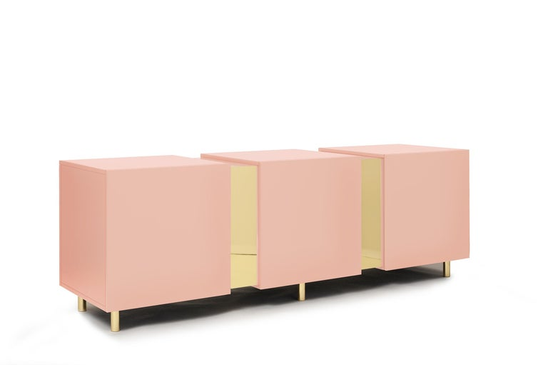 Sideboard in Brass and Colorful Lacquered Wood, Geometric-Shaped For Sale 10