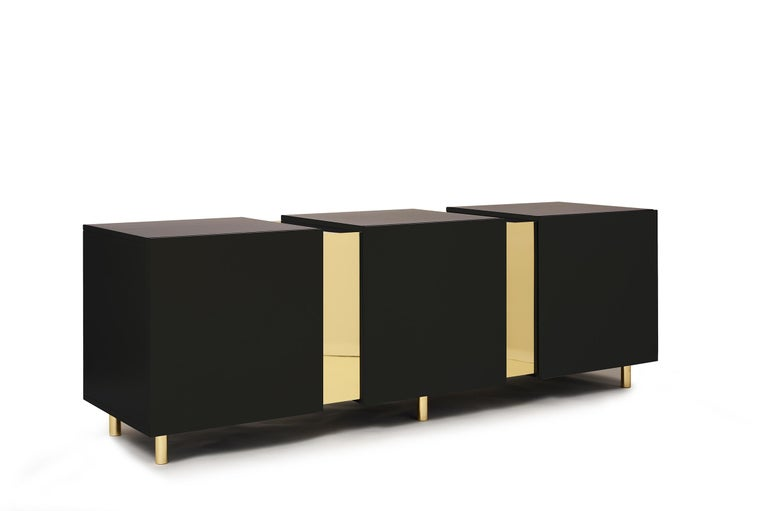 Sideboard in Brass and Colorful Lacquered Wood, Geometric-Shaped For Sale 11