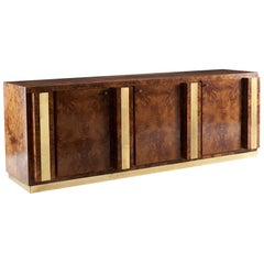 Sideboard in Briarwood with Brass Finish, circa 1970