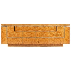 Sideboard in Burl Wood and Brass, Jean Claude Mahey for Roche Bobois, 1978