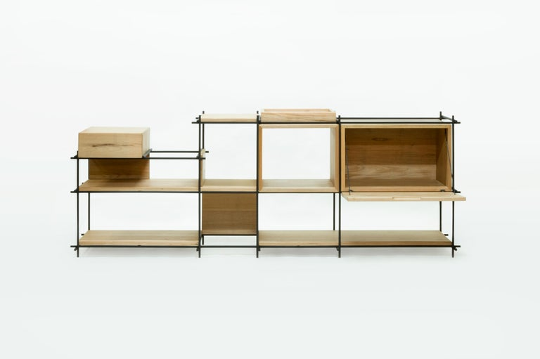 Painted Sideboard in Hardwood and Steel, Brazilian Contemporary Design by O Formigueiro For Sale