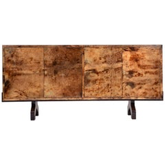 Mid-Century Sideboard in Brown Lacquered Goat Skin by Aldo Tura, Italy, 1970s