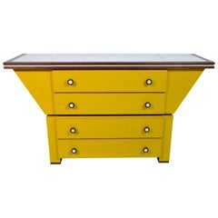 Sideboard in Natural Larch Wood Covered in Yellow and White Laminate Italy, 1960