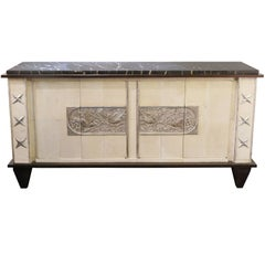 Sideboard in Parchment with Silver Relief-Work, France, 1940s-1950s