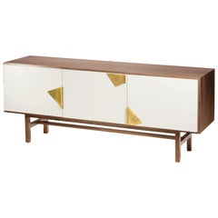 Sideboard Jazz in Walnut Wood, Brass and Lacquer