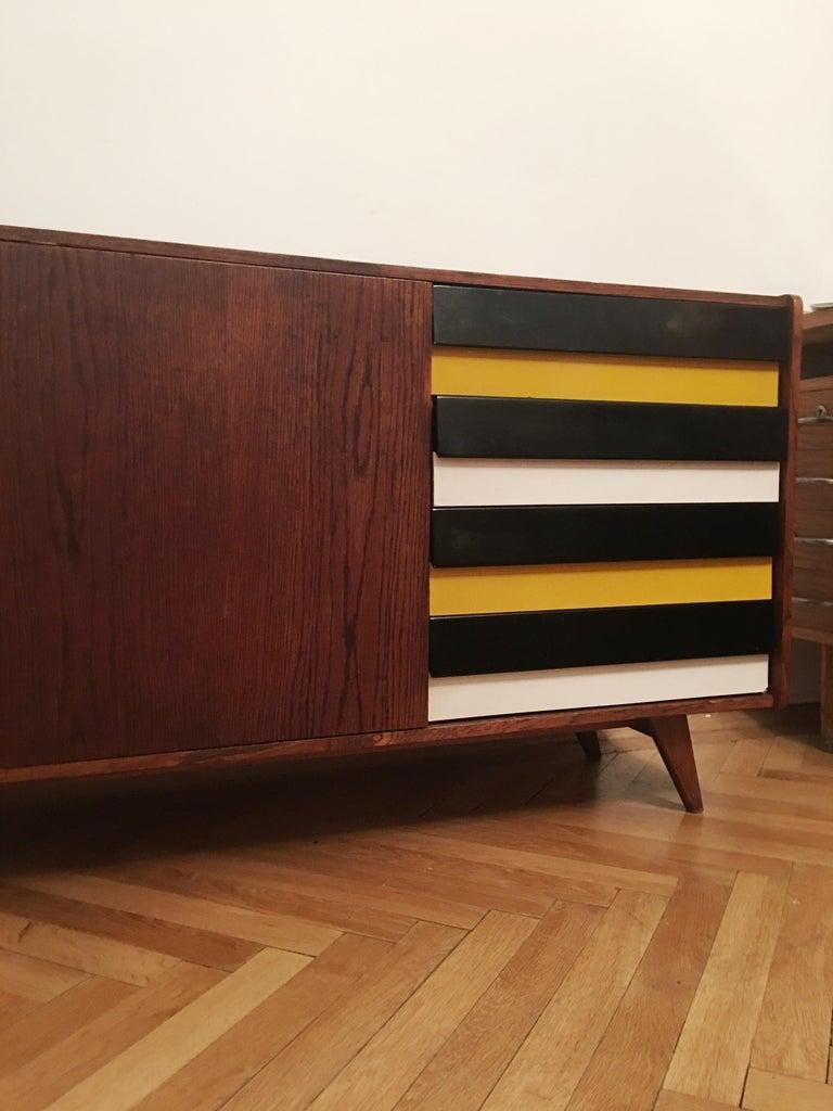 Mid-Century Modern Sideboard Jiri Jiroutek for Interier Praha, U 460 Yellow and Gray For Sale