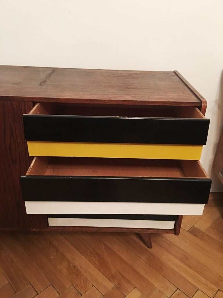 Czech Sideboard Jiri Jiroutek for Interier Praha, U 460 Yellow and Gray For Sale