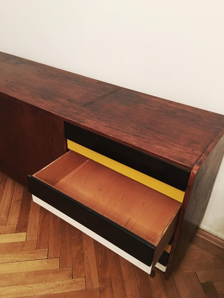 Sideboard Jiri Jiroutek for Interier Praha, U 460 Yellow and Gray In Good Condition For Sale In Prague, CZ