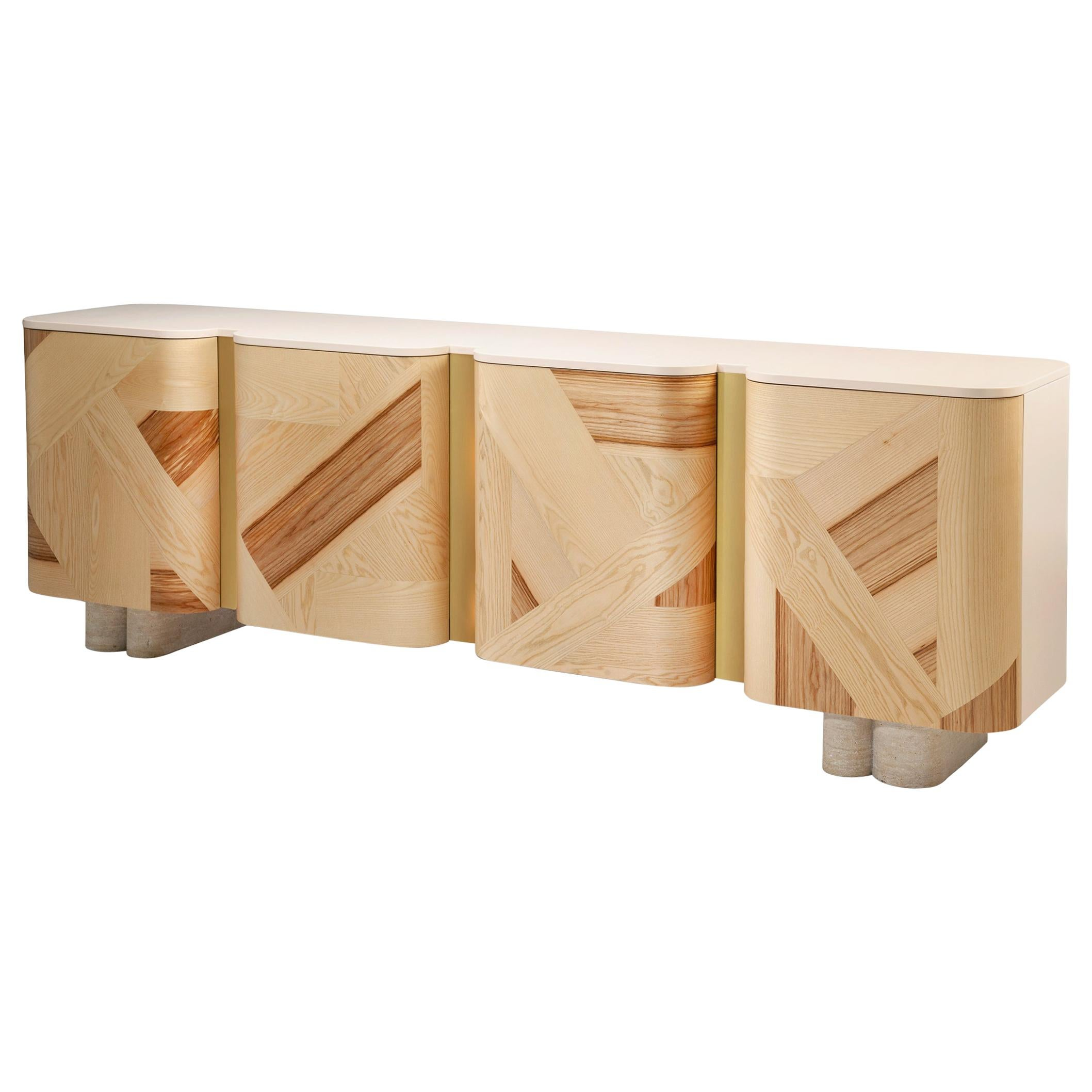 Sideboard Kisho with Olive Ash Marquetry and Brass Detail