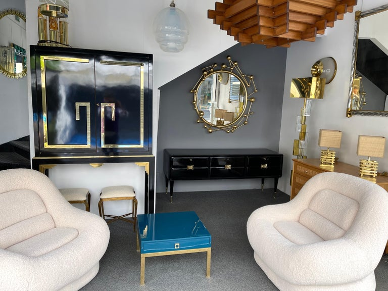 Sideboard Lacquered Wood and Brass by Vittorio Dassi, Italy, 1950s For Sale 9