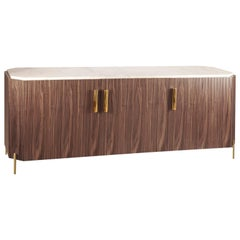 Sideboard Malcolm in Wood, Brass and Marble