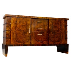 Sideboard Midcentury in Walnut Briar and Brass Attributed to Gio Ponti, 1950s